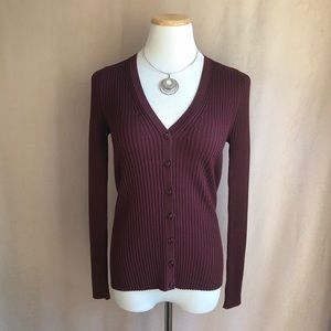 Lord & Taylor Petite Maroon Button Down Sweater PS